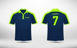 Blau- und Grenzeplanfußball tragen T-Shirt, Ausrüstungen, Trikot, Hemddesignschablone zur Schau Stockfotos