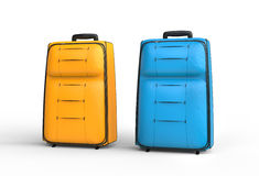 Blau und orange Reisegepäckkoffer auf weißem Hintergrund Lizenzfreies Stockbild