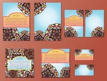Blau- und Orangensatz Broschüren, Flieger, Einladungen und Visitenkarten stock abbildung