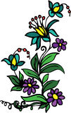 Blau und Purpur blüht Blumenauslegung Lizenzfreie Stockfotografie