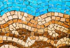 Blau und Terrakotta smalt Mosaik Lizenzfreies Stockbild
