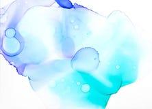 Blau- und turquiseaquarellhintergrund Stockbild