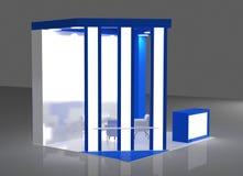 Blau und Wiedergabe Grey Exhibition Stands 3d Lizenzfreie Stockbilder