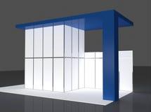 Blau und Wiedergabe Grey Exhibition Stands 3d Lizenzfreies Stockfoto