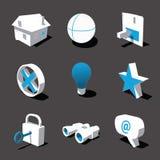 Blau-weiße Ikone 3D stellte 01 ein lizenzfreie stockfotos