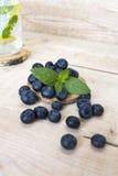 Blaubeeren mit Minze auf einem Holztisch Lizenzfreie Stockfotografie