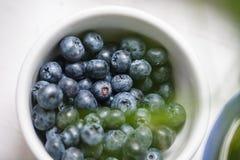 Blaubeerenorganisches Antioxidanssuperfood in einem Schüsselkonzept für ihn Stockfotografie