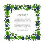 Blaubeerrahmen mit kreativem Konzept des Beispieltextes Stockfoto