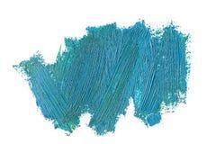 Blaue ölige Farbenpinselstriche, lokalisiert Stockbilder