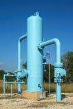 Blaue Ölpipeline Stockfotografie