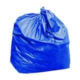 Blaue Abfalltasche mit Konzept die Farbe von blauen Abfalltaschen ist der allgemeine Abfall, der auf weißem Hintergrund lokalisie Lizenzfreie Stockfotografie
