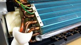 Blaue abkühlende Blätter des Klimaanlagenkondensatores Lizenzfreie Stockbilder