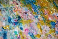 Blaue abstrakte Beschaffenheit der goldenen Anschläge, wächserner abstrakter Hintergrund, klarer Hintergrund des Aquarells, Besch Lizenzfreies Stockfoto