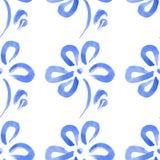 Blaue abstrakte Blumen des nahtlosen Musters Lizenzfreie Stockbilder