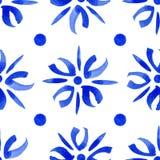 Blaue abstrakte Blumen des nahtlosen Musters mit Punkten Stockfotos