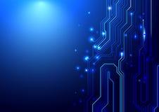 Blaue abstrakte Leiterplatte und Linien Hintergrund Lizenzfreie Stockbilder
