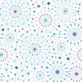Blaue abstrakte Linie Kunst kreist nahtloses Muster ein Stockbilder