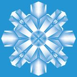 Blaue abstrakte symmetrische Schneeflocke, Linie Kunst, Ikone, Vektorillustration stock abbildung