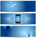Blaue abstrakte Technologiefahnen für Webdesign Stockfotografie