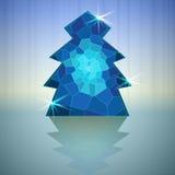 Blaue abstrakte Weihnachtsbaum-vektorkarte vektor abbildung