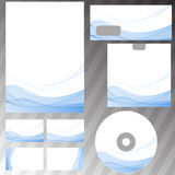Blaue abstrakte Welle zeichnet Briefpapierkonzept Stockfotos