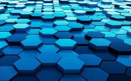Blaue abstrakte Wiedergabe des Hexagonhintergrundmusters 3D - Illustration 3D Stockfotos