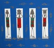 Blaue afrikanische Kunstfrauen-Korbköpfe, Afrika Lizenzfreies Stockbild