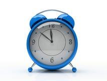 Blaue Alarmuhr getrennt auf weißem Hintergrund 3D Stockfoto