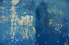 Blaue alte gebrochene Wand Stockfotos