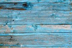 Blaue alte gemalte hölzerne Wand Stockbild