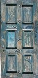 Blaue alte Tür geschnitzt mit Seemöwen Stockfotografie