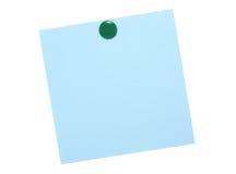 Blaue Anmerkung mit grünem Stift stockbilder