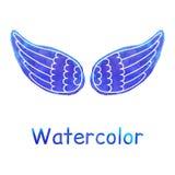Blaue Aquarell-Flügel Stockfotografie