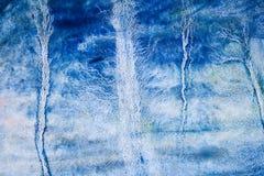 Blaue Aquarellhand gezeichnet für Textentwurf, Netz Abstraktes kaltes Bürstenfarbenpapier-Korngefügeelement für Tapete, Aufkl stockbilder