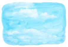 Blaue Aquarellwolke und -himmel lizenzfreie abbildung