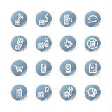 Blaue Aufkleber-Handyikone Stockfotografie