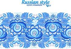 Blaue aufwändige mit Blumenlinie in gzhel Art Lizenzfreie Stockfotos