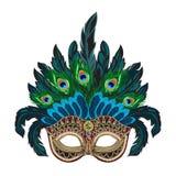 Blaue aufwändige venetianische Karnevalsmaske des Vektors mit bunten Federn lizenzfreie abbildung