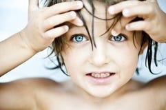 Blaue Augen öffnen weit sich Lizenzfreies Stockfoto