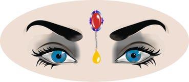 Blaue Augen der Frau s mit Ostmake-up stockbild