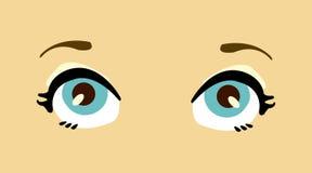 Blaue Augen der Karikaturfrauen. Stockfotos