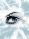 Blaue Augen und Weltkarten Stockfoto