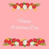 Blaue Auslegung Mimose, Tulpe, Kamille und Blätter Sie können als Hochzeitseinladung, Geburtstag benutzt werden Stockfoto