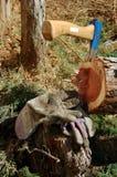 Blaue Axt im Baum mit Arbeiterhandschuhen Lizenzfreies Stockbild