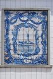 Blaue azulejo Platte von Fliesen, Aveiro, Portugal Lizenzfreie Stockfotos