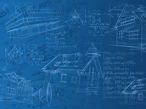 Blaue Berechnungsanmerkungen, -formeln und -skizzen Stockfotos