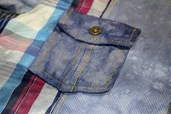 Blaue Beschaffenheit in der Perspektive des Baumwollgewebees mit einem Muster von t Stockbild