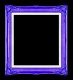Blaue Bilderrahmen Getrennt auf schwarzem Hintergrund Stockbilder