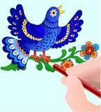 Blaue bird& Zeichnungshand Stockfotografie