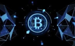 Blaue bitcoin Projektion über schwarzem Hintergrund Lizenzfreies Stockbild